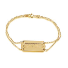 Double Chain Braille Bar Bracelet in Gold Plating