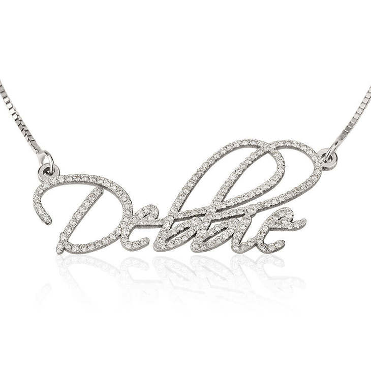 Cubic Zirconia Script Name Necklace