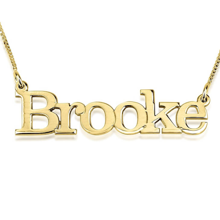 24K Gold Plated Elephant Style Name Necklace