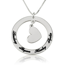 Circle Mother Pendant with Engraved Names