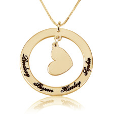 Circle Mother Pendant with Engraved Names in Gold Plating