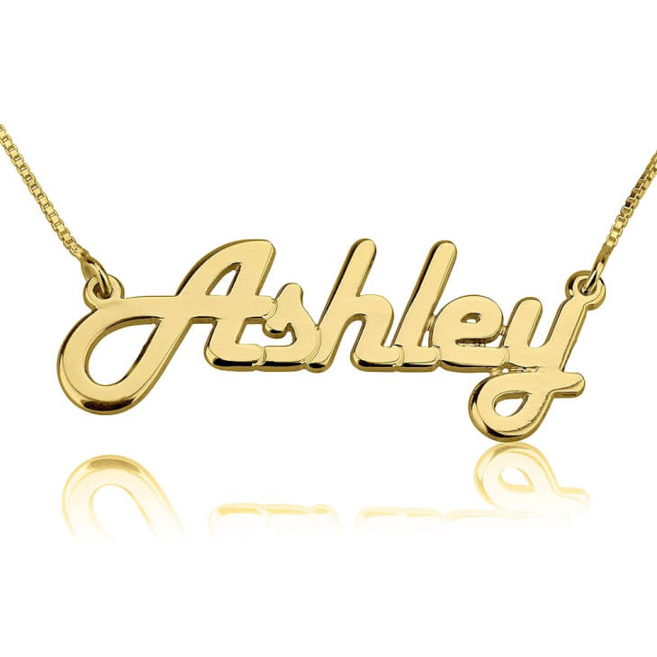 24K Gold Plated Italic Name Necklace