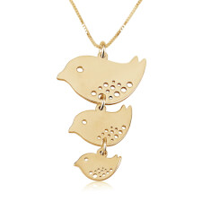 Mother Birds Hanging Pendant in Gold Plating