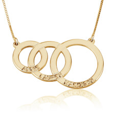 Kids Name Engraved Mother Necklace in Gold Plating