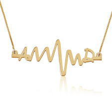 Two Initials Heart Beat Necklace in Gold Plating