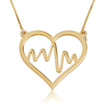 Heart Beat Inside Heart Necklace in Gold Plating