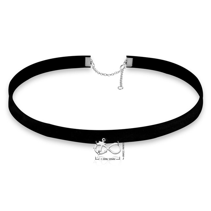 Collier Choker Infini avec Ancre Marine - Information