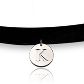 Cut Out Initial Disk Choker Necklace