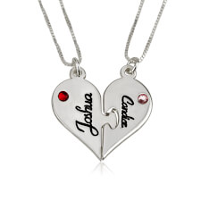 Sterling Silver Breakable Heart Couple Necklace Set