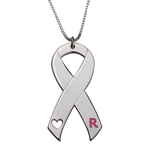 Pink Initial Breast Cancer Necklace - Thumb