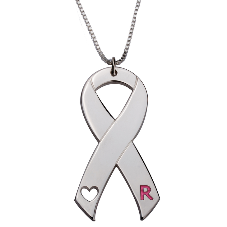 Pink Initial Breast Cancer Necklace