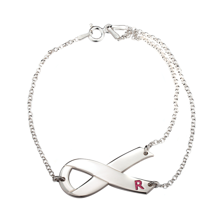 Breast Cancer Ribbon Initial Bracelet
