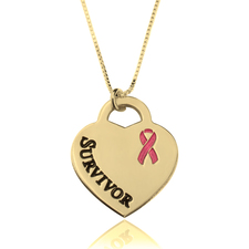 Survivor Breast Cancer Heart Necklace