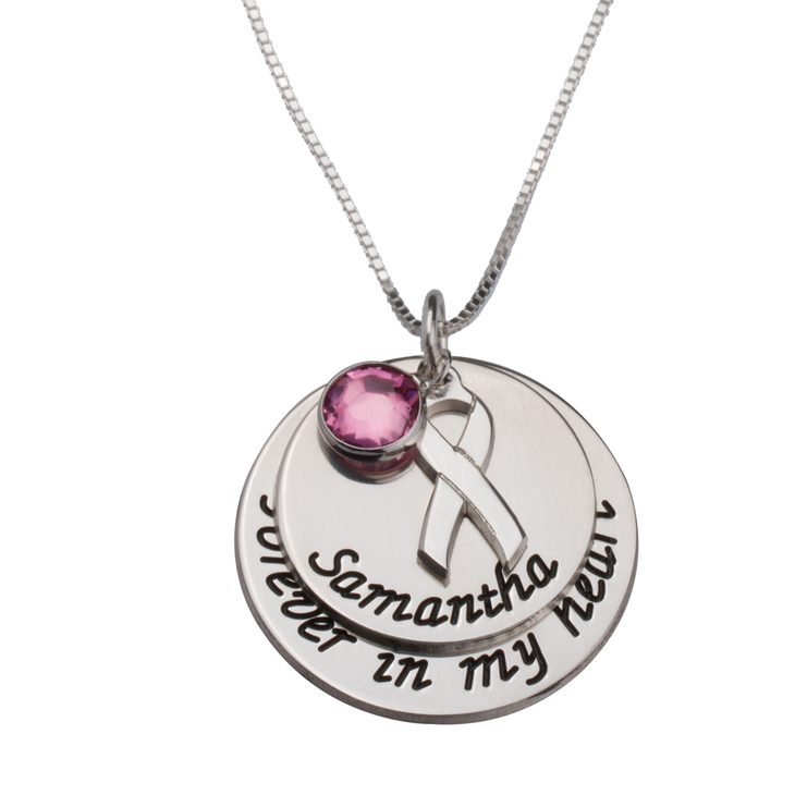 Pink Swarovski Breast Cancer Necklace with Engraved Name