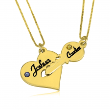24k Gold Plated Key and Heart Couple Necklace Set