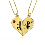 24k Gold Plated Breakable Heart Couple Necklace Set - Thumb