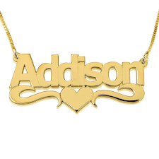 24K Gold Plated Bold Print with Heart Name Necklace