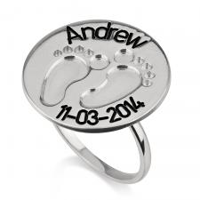 Silver Baby Footprint Ring