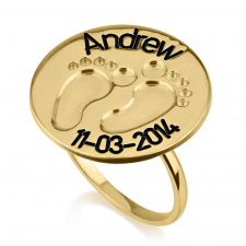 Baby Footprint Ring in Gold Plating