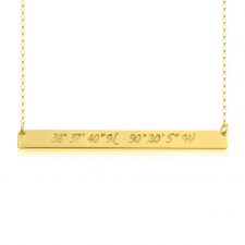 Coordinate Bar Necklace in Gold Plating