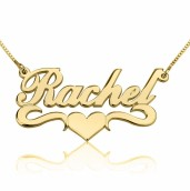 24K Gold Plated Alegro with Middle Heart Name Necklace