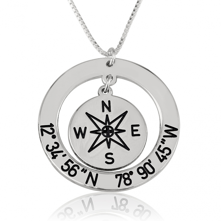Compass & Coordinate Necklace