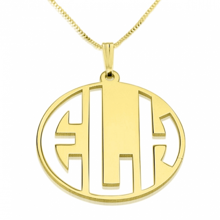 24k Gold Plated Capital Letters Cut Out Monogram Necklace  - Picture 2