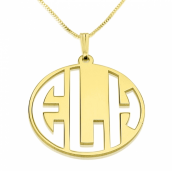 24k Gold Plated Capital Letters Cut Out Monogram Necklace