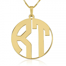 24k Gold Plated Capital Letters Border Monogram Necklace