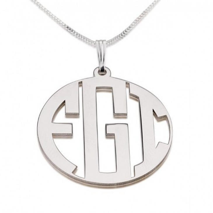 Sterling Silver Capital Letters Border Monogram Necklace