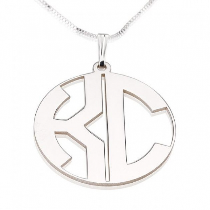 Sterling Silver Capital Letters Border Monogram Necklace  - Picture 2