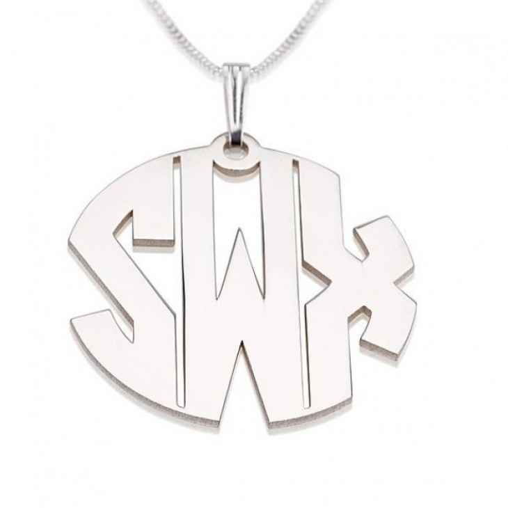 Sterling Silver Capital Letters Monogram Necklace