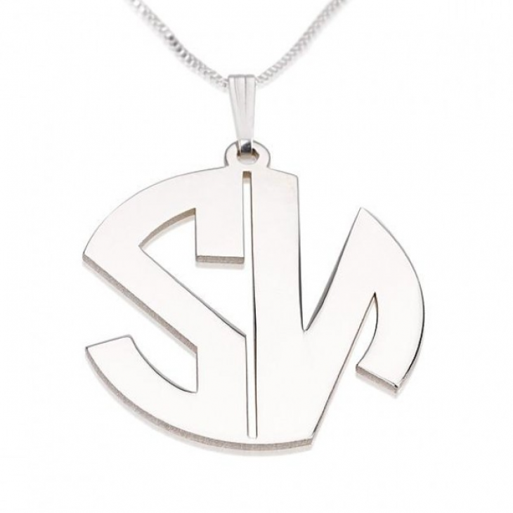 Sterling Silver Capital Letters Monogram Necklace  - Picture 2