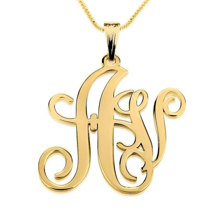 24k Gold Plated Two Letters Monogram Necklace  - Picture 2