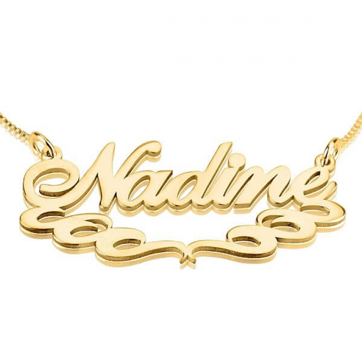 24k Gold Plated Name Necklace with Underlining  - Picture 2
