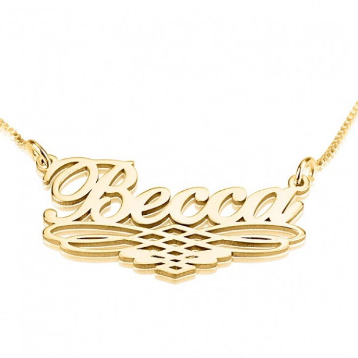 24k Gold Plated Name Necklace with Underlining  - Picture 3