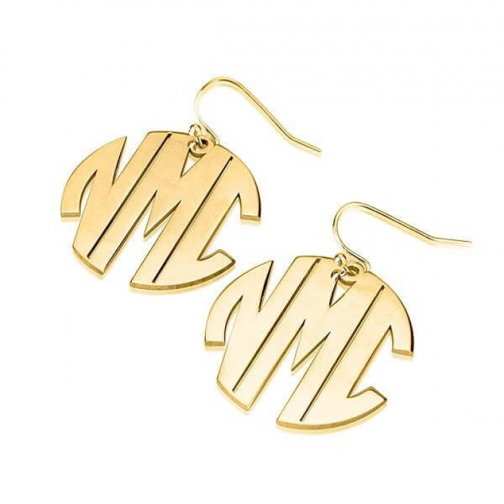 24k Gold Plated Capital Letters Monogram Earrings  - Picture 2