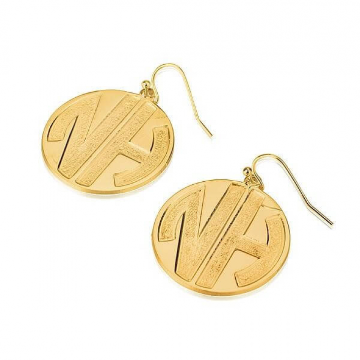24k Gold Plated Sparkling Letters Monogram Earrings  - Picture 2