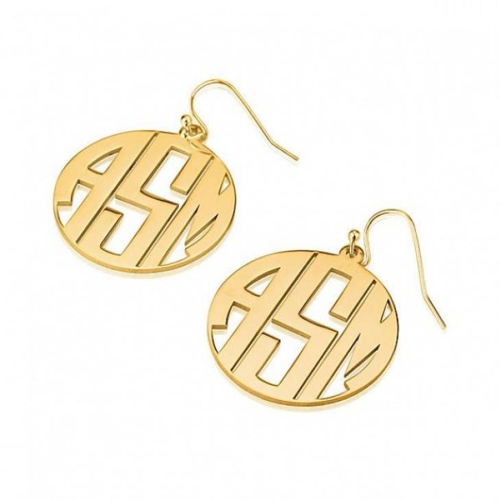 24k Gold Plated Capital Letters Border Monogram Earrings