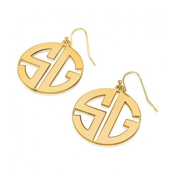 24k Gold Plated Capital Letters Border Monogram Earrings  - Picture 2