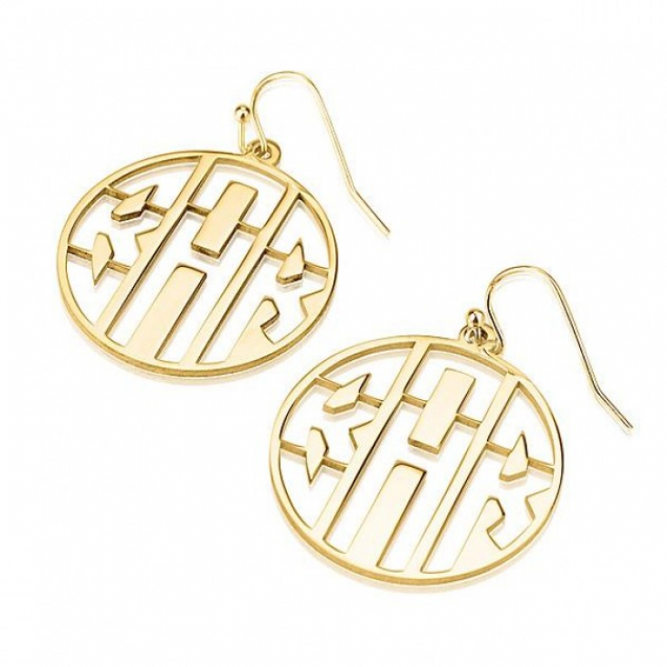 24k Gold Plated Capital Letters Cut Out Monogram Earrings  - Picture 2
