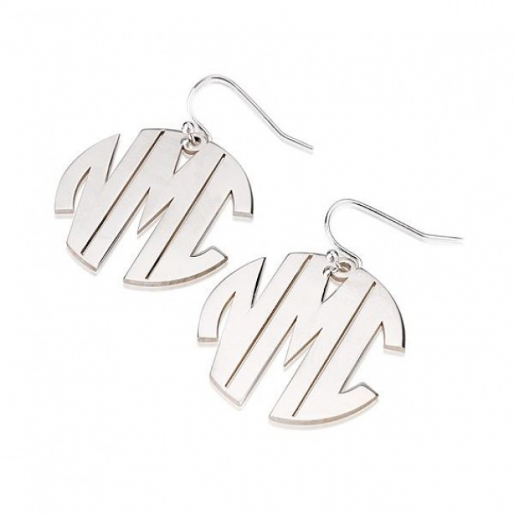 Sterling Silver Capital Letters Monogram Earrings  - Picture 2