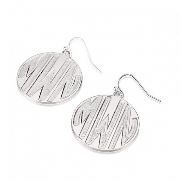 Sterling Silver Sparkling Letters Monogram Earrings  - Picture 2