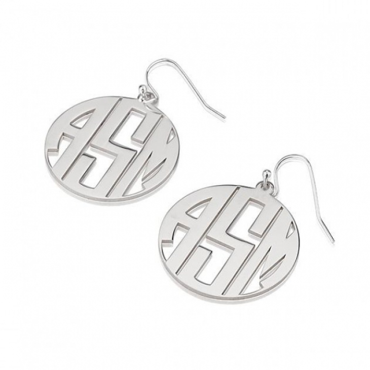 Sterling Silver Capital Letters Circle Monogram Earrings  - Picture 2