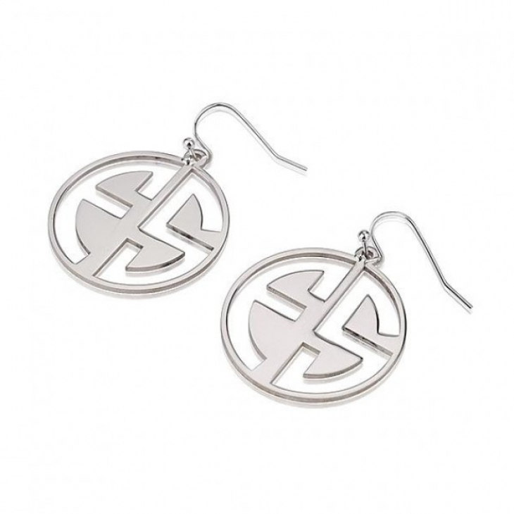 Sterling Silver Capital Letters Cut Out Monogram Earrings - Picture 2