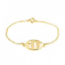 24k Gold Plated Sparkling Letters Monogram Bracelet
