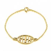 24k Gold Plated Capital Letters Cut Out Monogram Bracelet