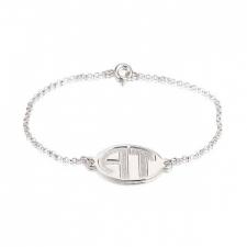 Sterling Silver Sparkling Letters Monogram Bracelet