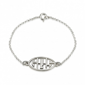 Sterling Silver Capital Letters Cut Out Monogram Bracelet