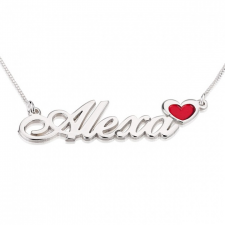 Sterling Silver Classic Name Necklace with Colored Icon